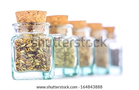 Cilantro, cumin, black peppers and coriander seeds herbs and spices in small corked bottles - stock photo