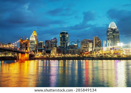 Cincinnati downtown overview early in the night - stock photo