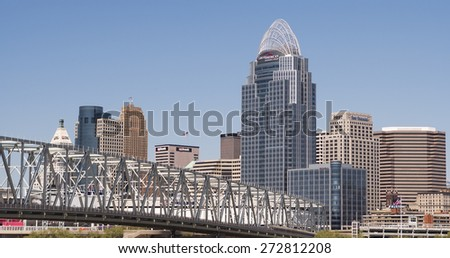 CINCINNATI, OH - APRIL 26: City of Cincinnati seen from Kentucky side on April 26, 2015 in Cincinnati, Ohio. - stock photo