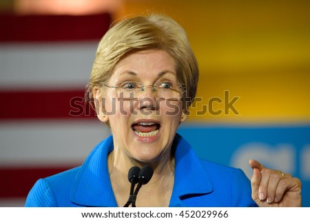 CINCINNATI, OHIA, USA - JUNE 27, 2016: Senator Elizabeth Warren delivers a speech at a campaign rally for the presumptive democratic nominee at the Museum Center.