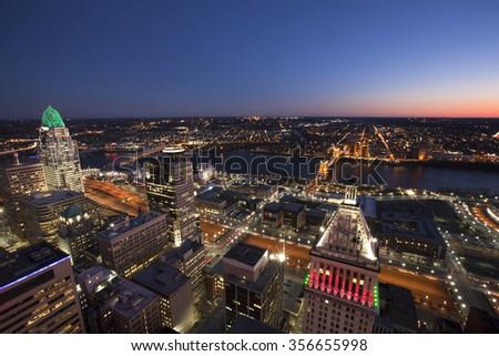 CINCINNATI, OHIO - DECEMBER 18, 2015:  The skyline if Cincinnati is gorgeous form the observation deck of the Carew tower. - stock photo