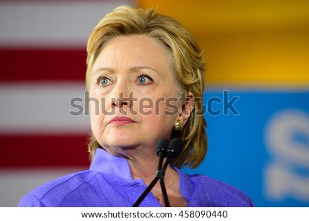 CINCINNATI, OHIO, USA - JUNE 27, 2016: Hillary Clinton with a pensive expression speaks at a campaign event at the Museum Center during a joint appearance with Senator Elizabeth Warren. - stock photo