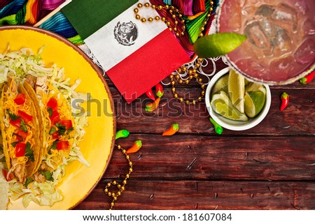 Cinco De Mayo Background with Margarita and Tacos - stock photo
