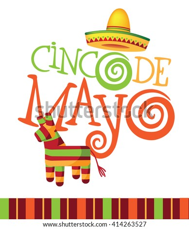 Cinco De Mayo festive design with hand drawn lettering.