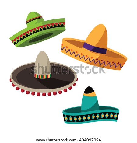 Cinco De Mayo sombrero flat design collection. royalty free stock illustration.