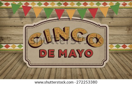 Cinco de Mayo, USA Mexican Celebration, Backgrounds. Wood with text - stock photo