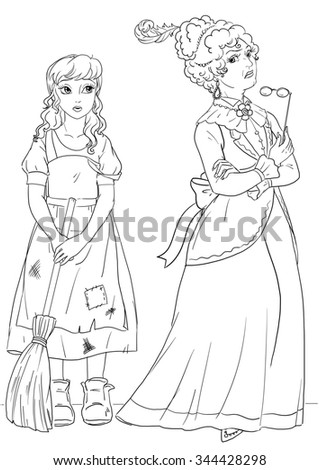 Evil stepmother stock images royalty free images for Evil stepmother coloring pages