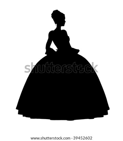 Cinderella illustration silhouette on a white background