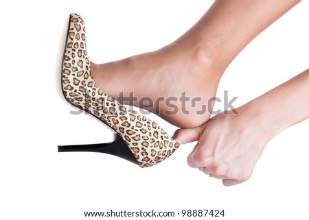 Cinderellas shoe concept isolated on white - stock photo