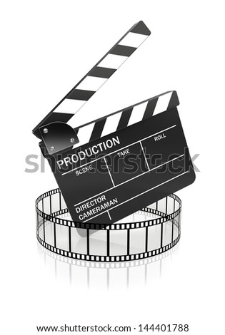 Cinema and video industry concept. Film around the slate board. 3d rendered image - stock photo