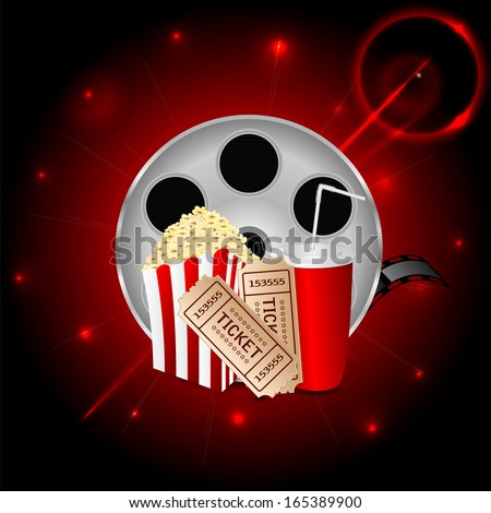 cinema background.items to a movie theater in the blazing neon background.banner for cinema.raster - stock photo