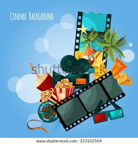 Cinema background with cartoon film and movie decorative elements  illustration - stock photo