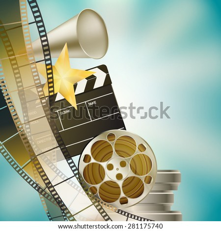 cinema blue background with retro filmstrip, clapper and stars left vertical border - stock photo