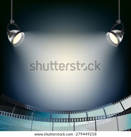 cinema blue background with spot lights and filmstrip - stock photo