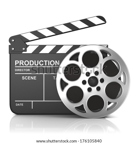 cinema clap and film reel, over white background