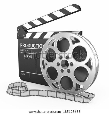 cinema clap and film reel, over white background - stock photo