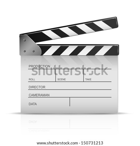 Cinema clapper isolated on a white background, illustration.