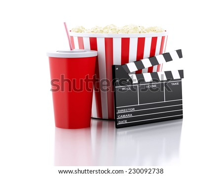 cinema clapper, popcorn and drink. Movie concept. 3d image - stock photo