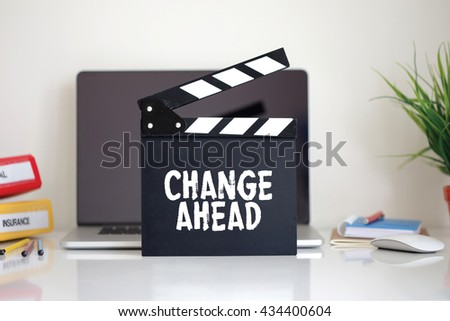 Cinema Clapper with Change Ahead word - stock photo