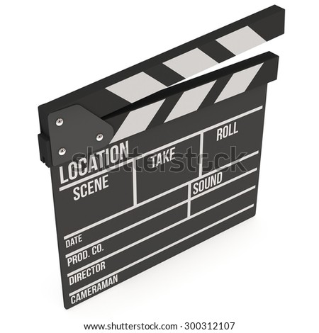 Cinema clapperboard. 3D render isolated on white. Filmmaking and video production device.