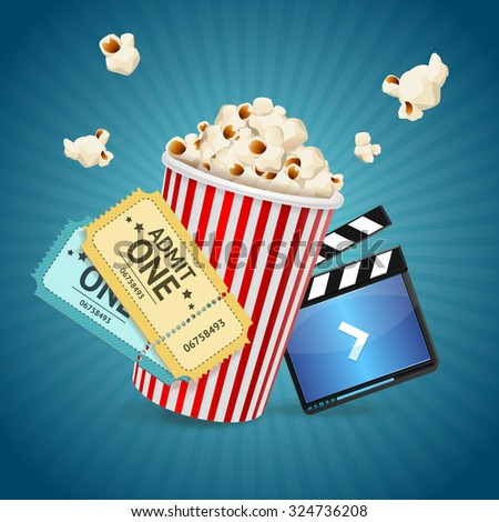 Cinema concept. Poster template with film clapper, popcorn, tickets. illustration
