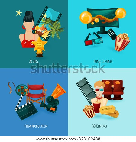 Cinema design concept set with actors film production cartoon icons isolated  illustration - stock photo