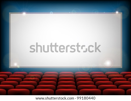 Cinema empty screen with space for your text here - stock photo