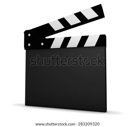 Cinema, film and movie maker concept with a black and white clapperboard with blank space for your business and advertising copy on white background. - stock photo