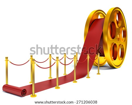 Cinema film roll and red carpet. 3d illustration - stock photo