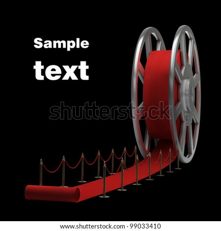 Cinema film roll and red carpet isolated. 3d illustration. high resolution - stock photo