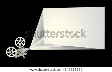 Cinema frame with projector and white screen - stock photo