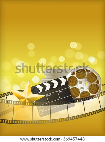 cinema golden background with retro filmstrip, clapper and star. raster version - stock photo