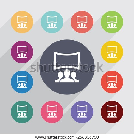 cinema hall circle, flat icons set. Round colorful buttons