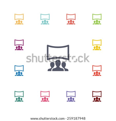 cinema hall flat icons set. Open colorful buttons