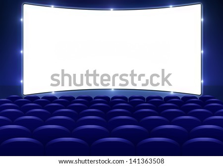 Cinema hall with big screen and seats - stock photo