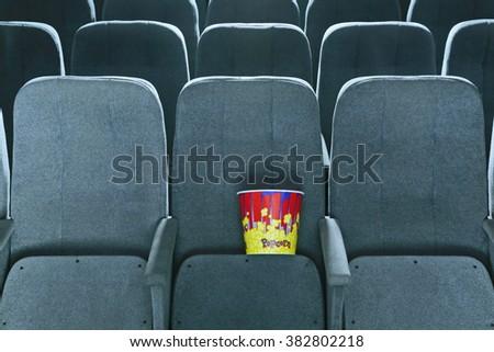 cinema interior popcorn - stock photo