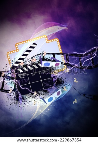 Cinema, movie, cinematography advert poster or flyer background with empty space - stock photo