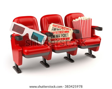 Cinema movie concept. Red seats with tickets, popcorn and 3d glasses isolated on white. - stock photo