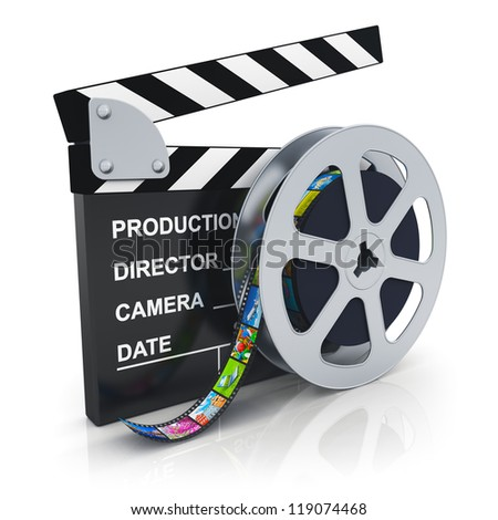 Cinema, movie, film and video media industry concept: clapper board and reel with filmstrip with colorful pictures isolated on white background with reflection effect - stock photo