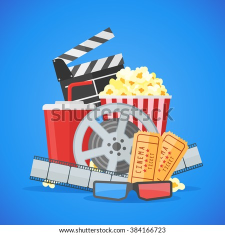 Cinema movie poster design template. Movie film reel and strip, ticket, popcorn, clapper board, soda takeaway, 3d glasses on blue background.