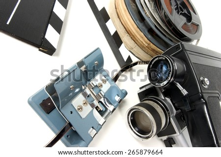 Cinema objects over white - stock photo