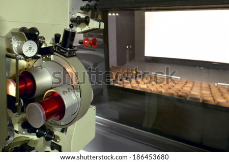Cinema. Projector cabin and theater screen. Horizontal - stock photo
