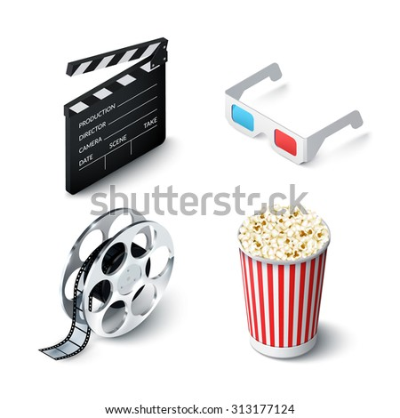 Cinema realistic set with 3d glasses clapperboard filmstrip and popcorn isolated  illustration - stock photo