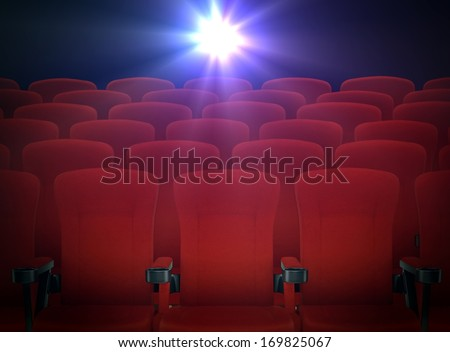 Cinema Red Seats with Projector Lights