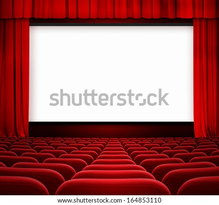 cinema screen with open curtain and red seats - stock photo