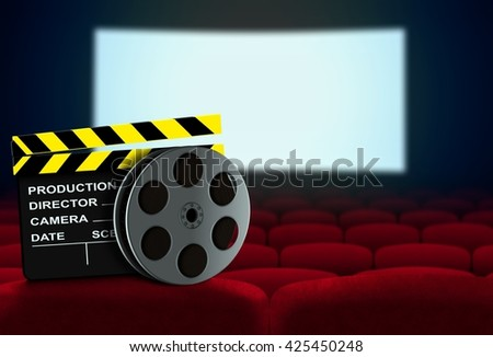 Cinema seat with clapperboard and film reel facing movie screen - stock photo
