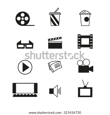 Cinema sign and symbol set. Trendy line design icons.