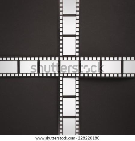 Cinema stripes on a black background - stock photo
