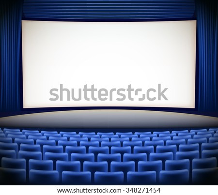 cinema theater background with blue seats and blue curtains. JPG version - stock photo