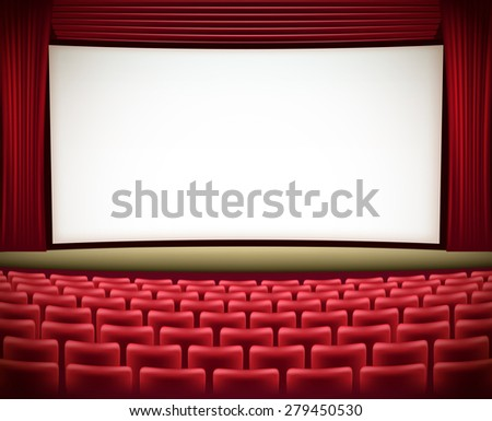 cinema theater background with red seats and red curtains  - stock photo